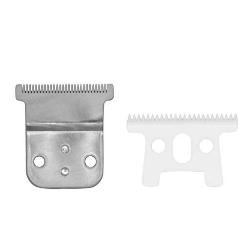 AIRERA Professional Cuchillas #32105 para Pro Li Trimmer D7#32655 D8#32400, 1 hoja fija de acero l carbono con hoja móvil de cerámica, compatible con SlimLine Pro Li Andis Cortapelos(Plateado)