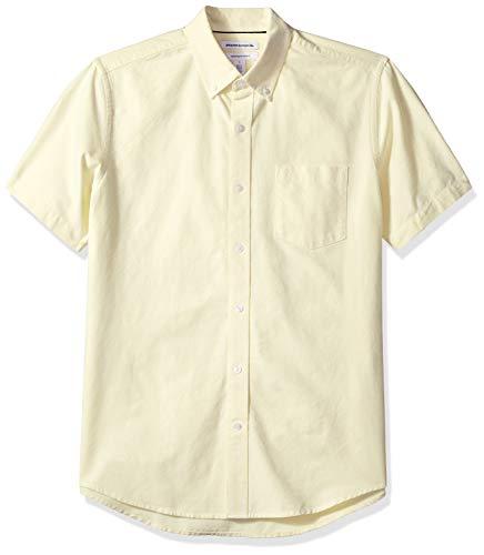 Amazon Essentials Herren Oxford-Hemd, reguläre Passform, Kurzarm, mit Brusttasche, Gelb (Yellow Yel), L