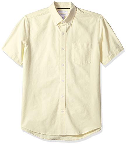 Amazon Essentials Men's Regular-Fit Short-Sleeve Pocket Oxford Shirt, Yellow, XX-Large Cotton Short Sleeve Camp Shirts