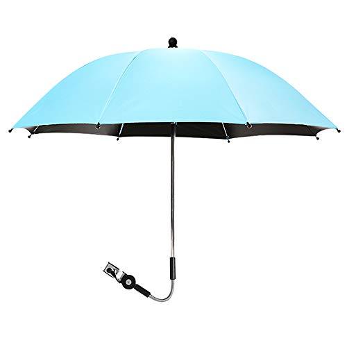 bxm Sombrilla giratoria de 360 grados para cochecitos y cochecitos, paraguas protección solar, protección contra la lluvia, protección contra los rayos UV 50+ función para exteriores (color azul)