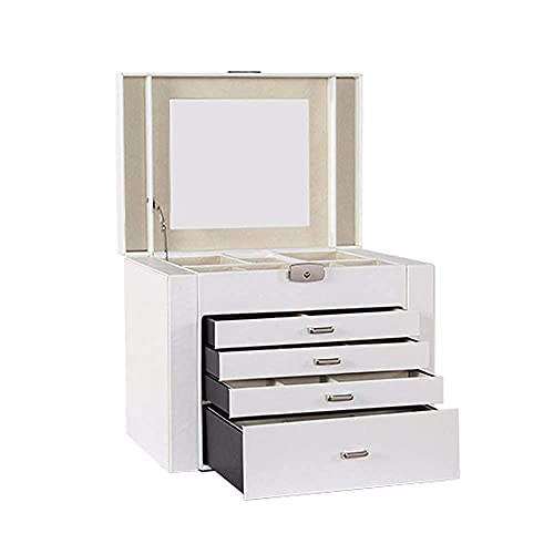 JIANGCJ Bella Jewelry Box Mini Caja de Organizador de joyería con Cerradura con 4 cajones para Anillos Pendientes Collar con Cerradura para Almacenamiento y Viaje para el hogar