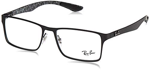 Ray-Ban RX8415 Metal Rectangular Prescription Eyeglass Frames, Matte Black On Black/Demo Lens, 53 mm