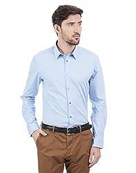 Peter England Mens Plain Light Blue Non Iron Long Sleeve Shirt