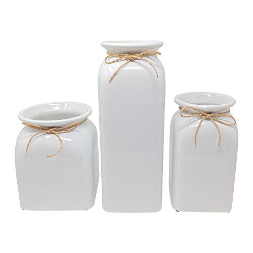 Joseph's Juego de jarrón cuadrado de cerámica, blanco, juego de 3 jarrones, ideal para decorar cocina, oficina o sala de estar, decoración del hogar