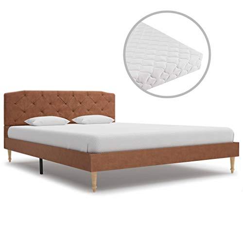 vidaXL Bed met Matras Stof Bruin 140x200 cm Bedden Ledikant Bedrames Matrassen