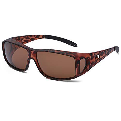 Polarized Sunglasses Fit Over Glasses, Oversized Wrap-Around Sunglasses 100% UV Protection for Men & Women Driving