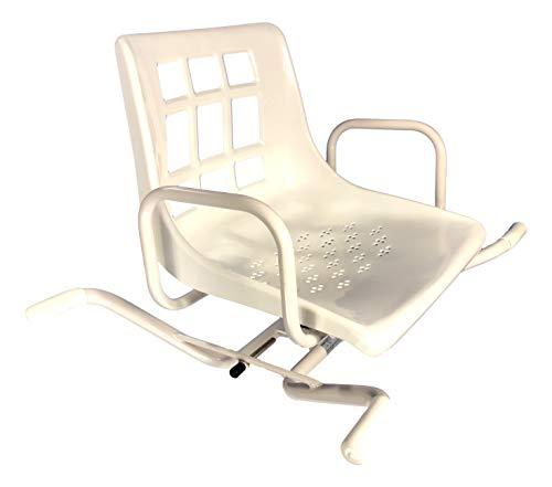 Sedia Girevole per Vasca da Bagno per Anziani e disabili- Seduta con Schienale e Braccioli – Sedile con Manopola per Ruotare