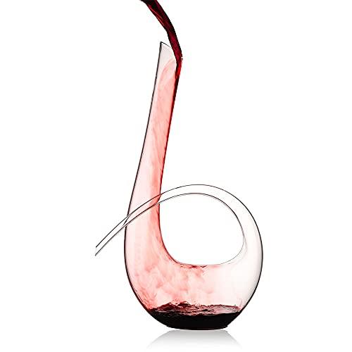 WYK Carafe à décanter à vin rouge + perles de nettoyage 1240 ml à vin rouge soufflé à la main de style sans plomb en verre transparent de haute qualité pour mariage, anniversaire, Noël