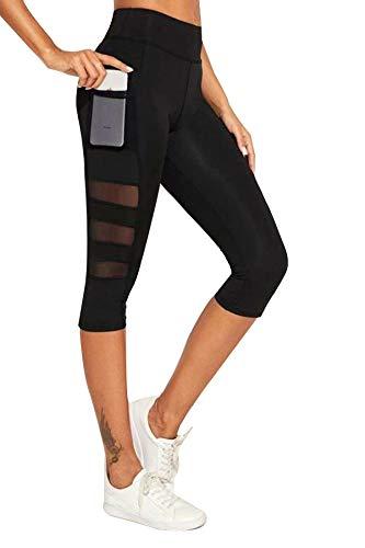 BLINKIN Mesh Insert Yoga,Gym and Active Sports Fitness Black Capri...