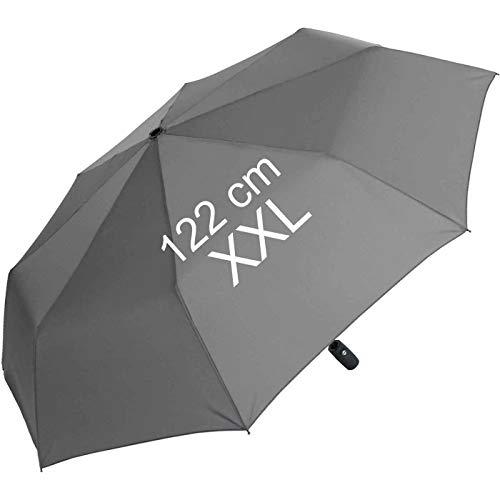 XXL Taschenschirm für Damen und Herren - Full Class- 122cm großes Dach mit Auf-Zu-Automatik - buisness-Grey