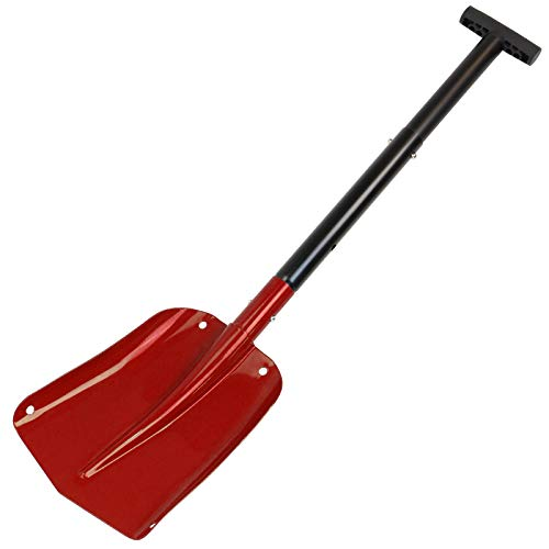 ALPIDEX Łopata do śniegu lawinowa aluminiowa łopata szufla składana lekka stabilna kompaktowa, Kolor:Czerwony