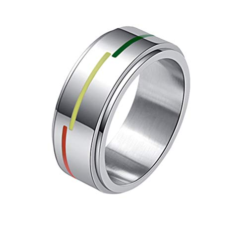 Happyyami Rainbow Ring Stainless Steel LGBT Ring Portable Gay Lesbian Pride Ladies Women Men Jewelry Gifts for Wedding Anniversary (M)