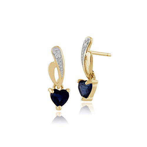 Gemondo Sapphire Earrings, 9ct Yellow Gold 0.66ct Light Blue Kanchanaburi Heart Sapphire & Diamond Drop Earrings