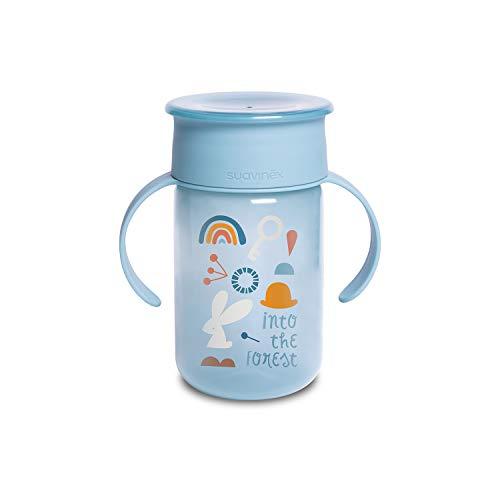 Suavinex 401195 Bicchiere Baby Training Cup Con Manici E Sistema Antigoccia, Da 12 Mesi, Forest Colore Azzurro - 340 ml - 121 g