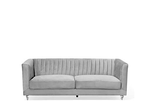 Beliani 3-Sitzer Sofa Samtstoff hellgrau modern Arvika