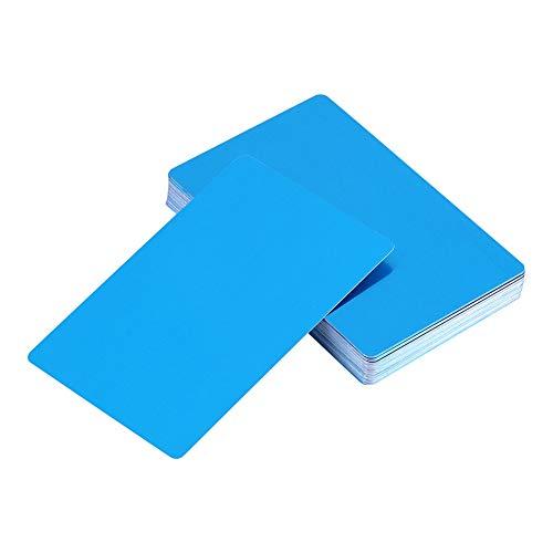 Visitenkarte, 50 Stück 5 Farben Beeindruckende Rohlinge Lasermarkierung Graviert Metall Glatt Business Visit Visitenkarten(Blau)