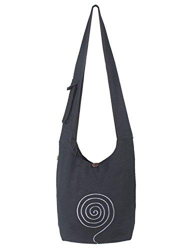 Vishes - Umhängetasche aus langlebiger, handgewebter Baumwolle mit aufgestickter Spirale - Unisex schwarz