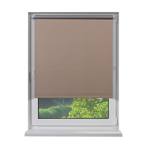 Fensterdecor Klemmfix Mini Verdunkelungs-Rollo, Thermo-Rollo inkl. Klemm-Träger, Sonnenschutz-Rollo ohne Bohren in Creme, mit Hitze- und Kälte-Schutz, 40 x 100 cm