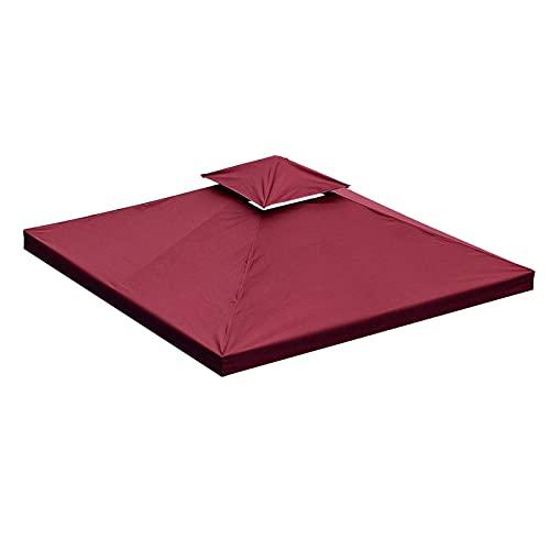 BJYX Toldo de Cenador 2 Niveles Cubierta Superior Techo Carpa Repuesto Protección Parasol Patio Jardín Exterior 200 g/m² 3x3 m Rojo Oscuro