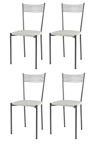 t m c s Tommychairs - Set 4 sedie Modello Elegance per Cucina Bar e Sala da Pranzo, Struttura in Acciaio Verniciata Color Alluminio e Seduta in Finta Pelle Colore Bianco