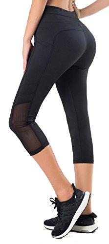 Sudawave – Mallas Capri para mujer con bolsillos laterales, Mujer, negro, extra-large