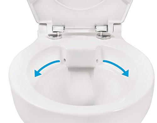 Wand-WC-Set Jonas | Spülrandlos | Inklusive WC-Sitz | Tiefspüler | Weiß | Spülrandlose Toilette | Spülrandloses Hänge-WC | Hängetoilette | Hygiene Plus | einfache Reinigung - 4