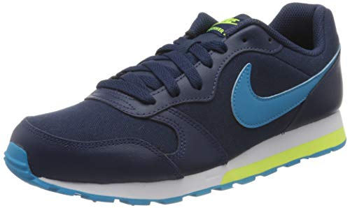 Nike Unisex-Child MD Runner 2 (GS) Sneaker, Midnight Navy Laser Blue Lemon Venom, 38.5 EU