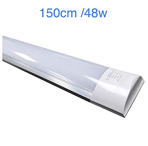 Lámpara luminaria LED 150 cm. Color Blanco Frío (6500K). T8 integrado 48w. 4800 lumenes. Regleta led slim.
