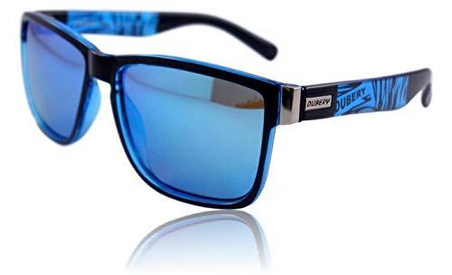 WinLook - Sonnenbrille aus polarisiertem und zertifiziertem UV400 – bequem und leicht - elegantes Design- gratis Schutz Etui – Neuheit 2019 - DUBERY (Schwarz&Blau/Blau)