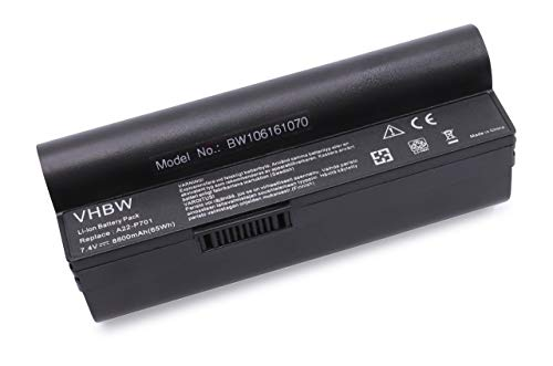 vhbw Akku passend für Asus Eee PC 700, 701, 900, 2G, 4G, 8G, 12G, 20G Laptop Notebook - (Li-Ion, 8800mAh, 7.4V, 65.12Wh, schwarz)