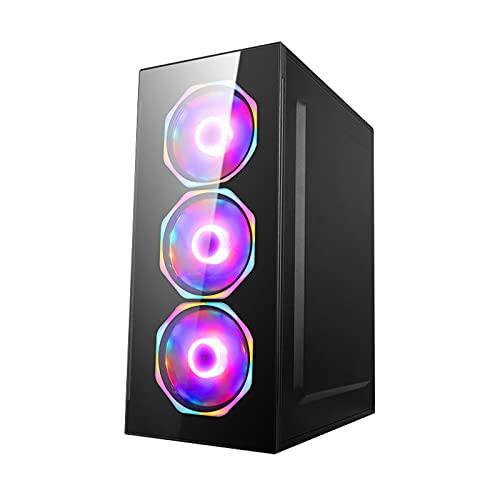 KDR Caja Principal ATX, Caja Gaming M-ATX/ITX 4 Posiciones de Ventilador Ranura de Expansión 7PCI Panel Lateral de Vidrio Templado USB3.0 (Negro)