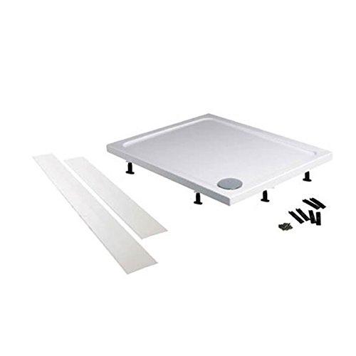 Duschwannen-Schürze 90x90 cm, Höhe 10 cm, Schürze & Stellfüße Set für Duschtasse