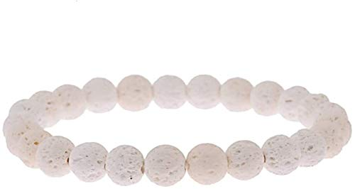 KEEBON Pulsera de Piedra Mujer, 7 Chakra 8mm Beads Natural Volcánica Lava Volcánica Piedra Elástica Brazalete Joyería Orga de Yoga Energía Reiki Charm Joyería Difusor Regalo para Pareja