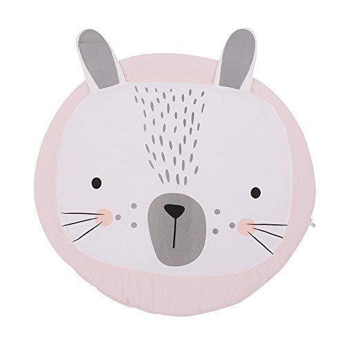95x95cm Tappeti da Gioco Rotondi Cotone Morbido Baby Play Mat Modello Animale Cartone Animato Bambino Piccolo Coperta Strisciante Arredamento per Ragazza Ragazzo Camera da Letto(Pink Rabbit)