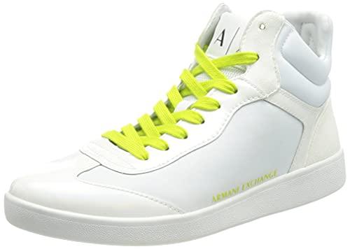 Armani Exchange Berlin Cupsole High Top, Sneaker Mujer, OP.White+Acid Lime, 36 EU