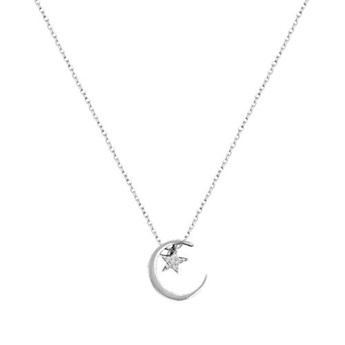 DOOLY Moon Star 925 Sterling Silver Necklace Fashion Simple Sparkling Clavicle Chain Woman Wedding Jewelry Party Birthday Gift