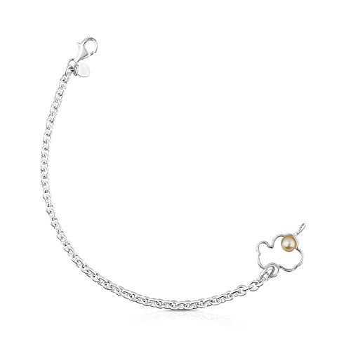TOUS Pulsera cadena Mujer con silueta de Plata y perla. Largo: 18 cm. 1,6 cm y 0,5 cm
