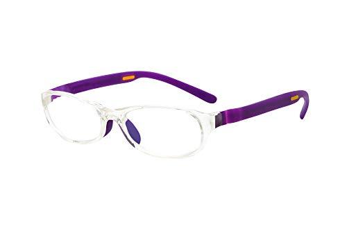 フロートリーディング(老眼鏡)テンプル(腕)のカラーを選べる グッドデザイン賞受賞のオシャレな老眼鏡 鯖江企画 驚きの掛け心地 首にも掛けれる ブルーライトカット 超軽量 モデル:ライト (ライト + パープル, 度数+1.0)