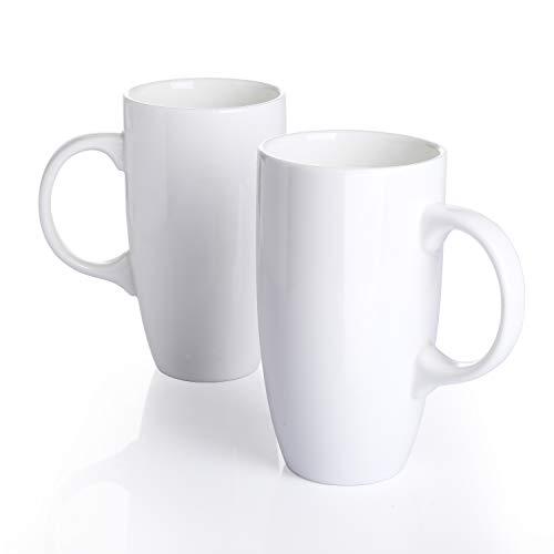 Panbado 2-teilig Große Kaffeetassen aus Weiß Porzellan, 550 ml große Füllmenge Tassen Set, Becher, Teetassen, Trinkbecher mit henkel für Heißgetränke, Keramik Becher