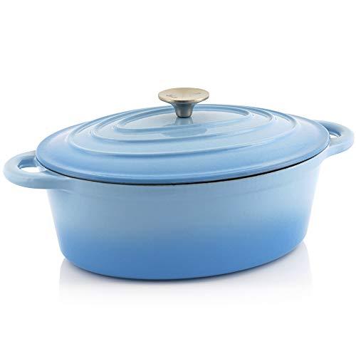 BBQ-Toro Cocotte | Emaillierter Gusseisen Bräter mit Deckel | induktionsgeeignet - rund (4,3 Liter (oval), Blau)