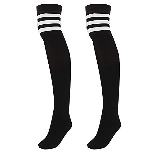 Faletony Overknee Strümpfe Kniestrümpfe gestreifte Sportsocken College Cheerleader Kostüm Baumwollstrümpfe Overknees mit 3 Streifen Gestreifte für Damen Mädchen Kinder