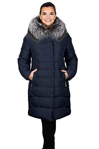 Grimada P902 dames winterjas in dons-look met echte bont capuchon grijs of blauw