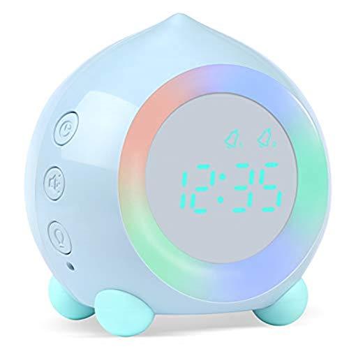 Despertador Reloj Despertador Inteligente Para Niños Función Bluetooth 7 Colores Cambiantes Dormitorio Estudiante Despertador Pantalla Digital Reloj De Mesa Temporizador De Sueño ( Color : Blue )