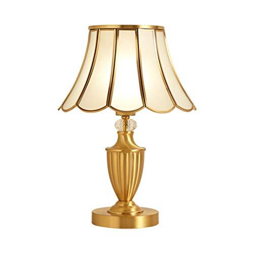 ZWeiD Alle koperen tafellamp, Energiebesparende Bescherming van de ogen leeslamp woonkamer Bijzettafel home verlichting Glazen lampenkap metalen tafel lamp Verlichting tafellamp (Size : 32 * 45cm)