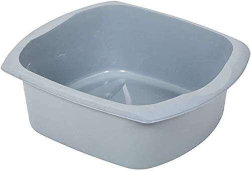 Addis 518459 Eco Made from 100% Recycled Plastic Large Rectangular Washing Up Bowl, 9.5 Litre, Light Grey