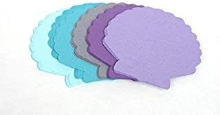25 Sea Shell Die Cuts - Paper Shells in Mixed Purple Grey and Blue