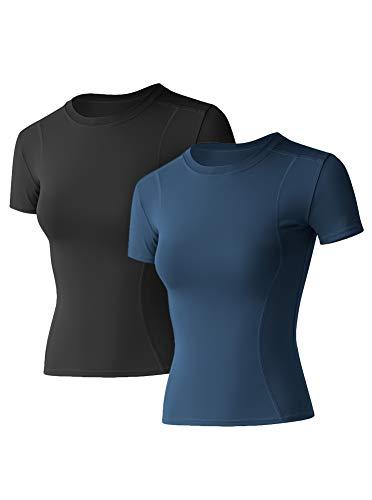 IHOT Women's Athletic Workout Yoga Shirts Elastic Short Sleeve Tight Tshirt Tee Tops 2 Pack Navy-Blue+Black Medium