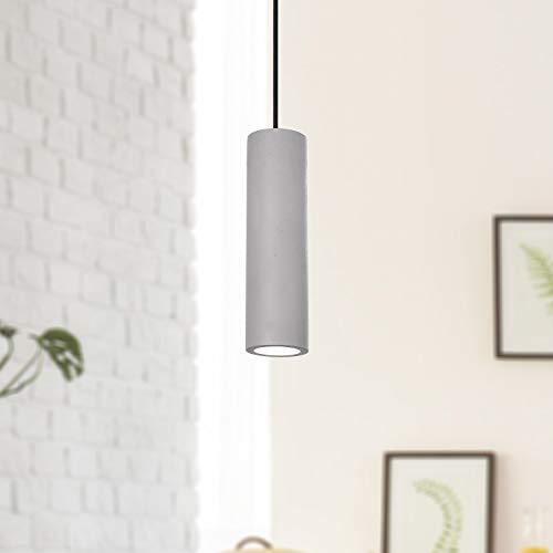 Lampada a sospensione a LED, GU10, per soggiorno, sala da pranzo, cucina, regolabile in altezza, Colore:Grigio cemento, Lampadina:Chiaro - 800lm / 5W