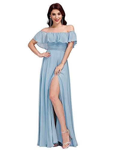Ever-Pretty A-línea Vestido de Noche Verano para Mujer Cielo Azul 38