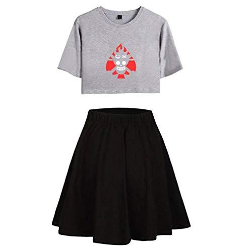 Justtime bedrukt T-shirt met crop-Top en rokken, set met crop-Top, korte rok en korte rok voor de zomer, voor dames L Grijs Zwart
